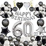 MMTX 60 Decoración Fiesta cumpleaños, Feliz cumpleaños Decoracion Globos Negro Plateado con Happy Birthday Banner, impresión látex Globos de Papel de corazón de Estrella para Niño Hombres Niña Mujer