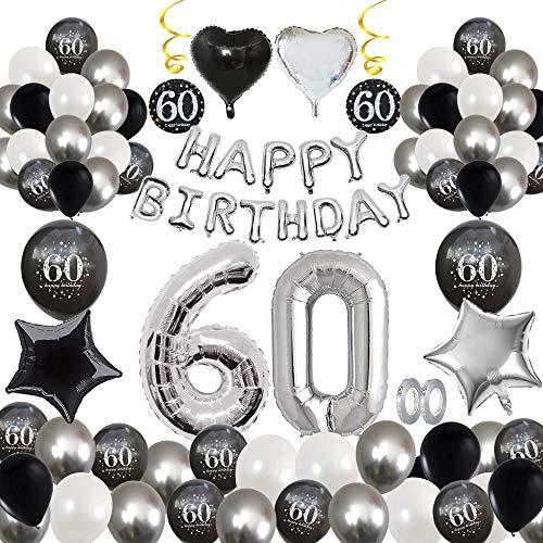 MMTX 60 verjaardagsfeestje decoraties, feest ballonnen decoraties zwart zilver met Happy Birthday banner, afdrukken latex ballonnen ster hart folie ballonnen voor feestartikelen jongen mannen meisje vrouwen