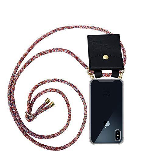 Cadorabo Handy Kette für Apple iPhone X/XS in Colorful Parrot - Silikon Necklace Umhänge Hülle mit Gold Ringen, Kordel Band Schnur & abnehmbarem Etui – Schutzhülle