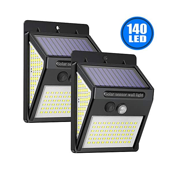 2-Pack-Solarleuchten-fr-Auen-140LED-Solarlampe-Auen-2000mAh-mit-Bewegungsmelder-270-Beleuchtungswinkel-Superhelle-Aussen-Solarlicht-3-Modi-Wasserdichte-Solarleuchten-fr-Garten