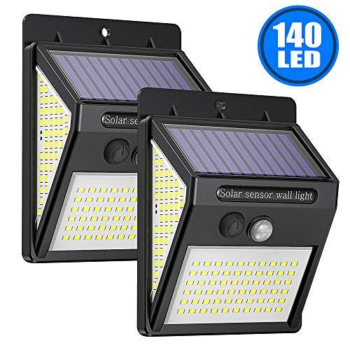 【2 Pieces】Luci Solare Led Esterno 2000mAh, 140 LED Lampada Solare con Sensore di Movimento, 270º Wireless Super Luminosa Luce Solari da Parete con 3 Modalità, Impermeabile per Giardino