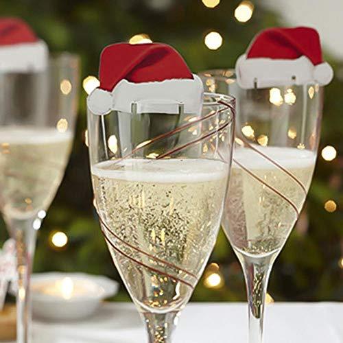 Skykaylen - Juego de 10 Mini Sombreros de Navidad para Copas de champán o Vino, diseño navideño