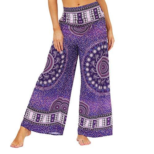 GenericBrands Mujer Caderapies Pantalones Bolsillos Estampados Yoga Pants Impresión de teñido Anudado en Color Pantalones Deportivos para