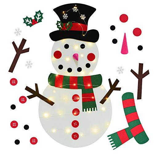 YQing Fieltro Árbol de Navidad, DIY Decoración del árbol de Navidad Decoración Colgante para Niños Ornamento de Adorno LED Luces de Navidad (Muñeco de Nieve Verde)