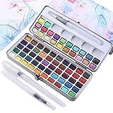 Juego de pintura de acuarela de 72 colores sólidos + 3 pinceles,color convencional, color fluorescente metálico, juego de pintura portátil comprimido, ideal para profesional principiant