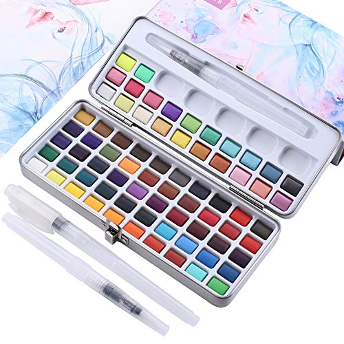 72-Color Solid Watercolor Paint Set + 3 Paint Brushes,Conventional Color Metallic Fluorescent Color,Compressed Portable Painting Set,Ideal for Professionals and Beginners…