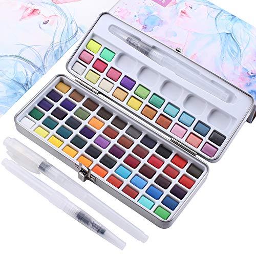 ghtmarrine 72 Farben Solid Aquarell Farbset + 3 Pinsel, konventionelle Farbe Metallic-Fluoreszenzfarbe, komprimiert tragbar, ideal für Profis und Anfänger