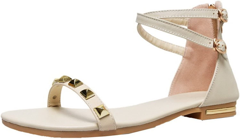 WeiPoot Women's Zipper Pu Open-Toe Low-Heels Solid Sandals, EGHLH006554