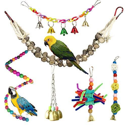 PietyPet Giochi per Uccelli pappagalli, 6 Pezzi Legno Naturale Scalette Giocattolo Giocattoli Gabbia, Corda Trespoli Perch per Piccoli Uccelli Parrocchetti