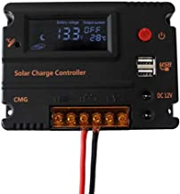 BXE 20A 12V 24V Solar Charge Controller Auto Switch LCD Intelligent Panel Battery Regulator Charge Controller Overload Protection Temperature Compensation
