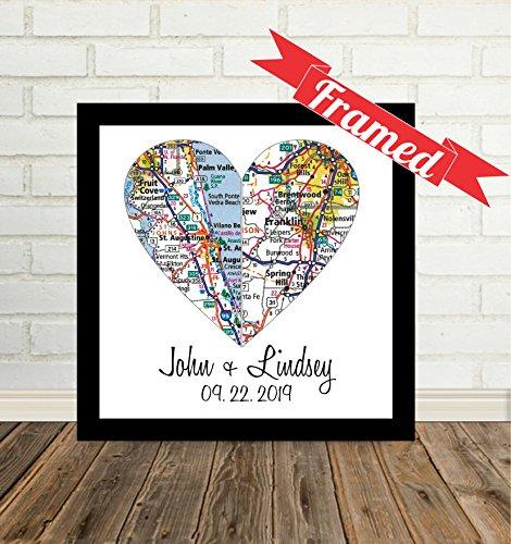 Custom Wedding 2 Hearts Maps Art Print