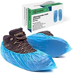 Bermond Life cubrezapatos de plastico, paquete de 100 resistentes, desechables, con caja de almacenamiento, fundas para zapatos para suelo