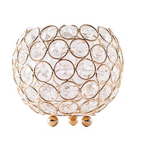 Haucy Kerzenhalter Gold, Kristall Kerzenhalter, Schmiedeeiserne Kerzenständer, für Schlafzimmer, Büro, Restaurant, Bar Deko- 1 STK