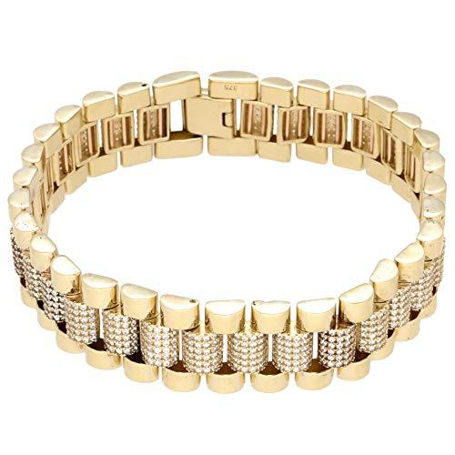 Pulsera de oro amarillo de 9 quilates de 21,5 cm de imitación de diamantes de imitación para hombre (15 mm de ancho) | One of a Kind Jewellery