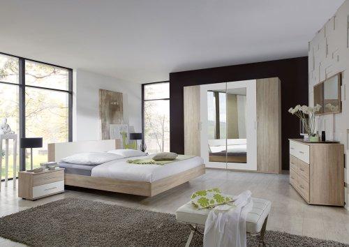 lifestyle4living 4-TLG. Schlafzimmer in Eiche sägerau-Nachb. mit Abs. in alpinweiß, Kleiderschrank Breite: 225 cm, Futonbett 180 x 200 cm, 2 Nachtschränke