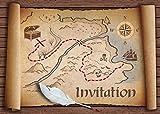 Invitations en Français Chasse au trésor: Paquet de 10 Cartes d'Invitation pour Un Prochain Anniversaire d'Enfant / fête des Pirates des Editon Colibri (10727 FR)