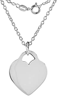 3//4 inch Sterling Silver Block Initial M Necklace Alphabet Letters High Polished 16-30 inch 2mm Curb Chain