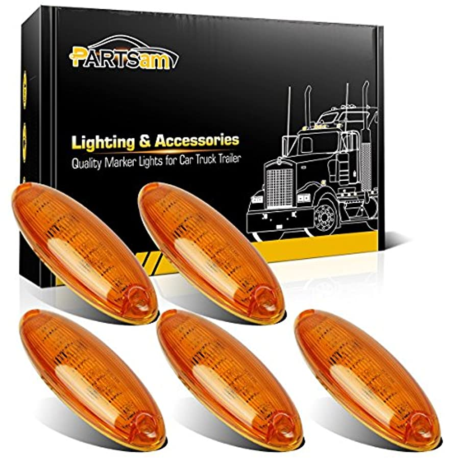 Partsam 5pcs Amber Lens Yellow 6 LED Top Cab Marker Roof Running Lights Lamps Assembly Replacement for Freightliner Cascadia Heavy Duty Truck Waterproof