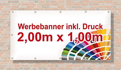 Baugerüst | PVC Banner/Werbebanner/Werbeplane | 2m x 1m | inklusive Saum und Ösen | brillanter Druck - besonders stabil - wetterfest | 510g/m² | einseitig mit