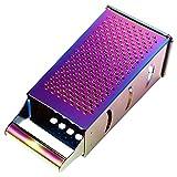 HEMOTON Rallador de Cajas Rallador de Queso de Cocina para Cocina Acero Inoxidable 4 Lados- Fácil de Usar (Colorido)