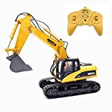 HuiNa Remote Control Excavator Truck 15 CH 2.4G Full Functional Construction Vehicles for Kids and Adults, 1:14 Boys Alloy Wireless RC Digger Toys