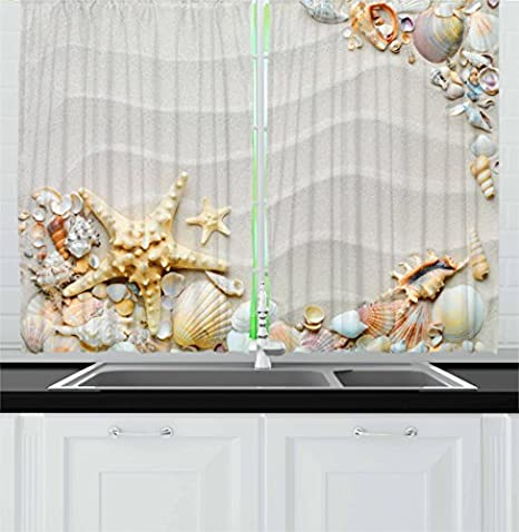 Amazon Com Ambesonne Starfish Kitchen Curtains Seacoast With Sand With Colorful Various Seashells Tropics Aquatic Wildlife Theme Window Drapes 2 Panel Set For Kitchen Cafe Decor 55 X 39 White Coral Home