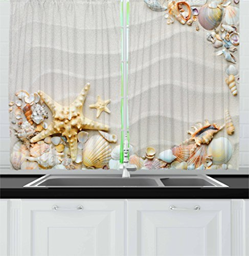 Ambesonne Starfish Kitchen Curtains, Seacoast with Sand with Colorful Various Seashells Tropics Aquatic Wildlife Theme, Window Drapes 2 Panel Set for Kitchen Cafe Decor, 55' X 39', White Coral