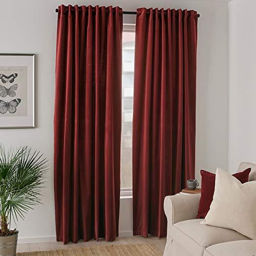 IKEA SANELA Velvet Curtains 55x98 2 Panels Room Darkening Long Red Brown