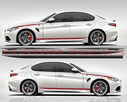 Gráfico de diseño único para Alfa Romeo Giulia | Giulia Decals | Kit de pegatinas Alfa Romeo | Pegatinas Alfa Romeo, negro, 11 colores