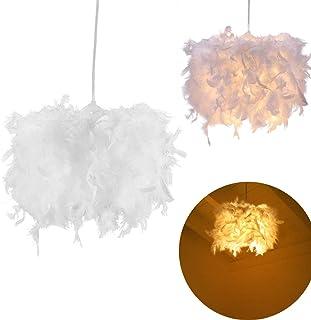 TiooDre Lámpara De Techo De Plumas Lámpara Colgante Redonda Redonda, Llamativa Pantalla De Lámpara Colgante Moderna Decorada Con Plumas Modernas Para Sala De Estar (Se Requiere Bombilla E27)