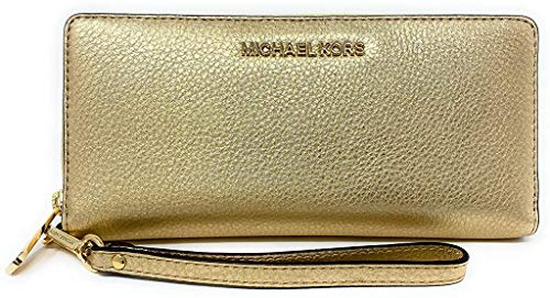 Michael Kors Jet Set Travel Continental Zip Around Leather Wallet Wristlet (Pale Gold)