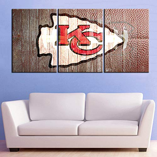 American Football Pictures Kansas City Chiefs Logo Paintings for Living Room 3 Panels Wall Art Home Modern Decor HD Prints Partriotism Artwork Giclee Framed Stretched Ready to Hang(42''W x 20''H)