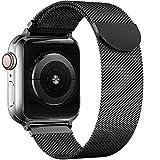 Wiselead Ersatzarmband kompatibel mit Apple Watch Armband 42mm 44mm, Edelstahl Metall Armband kompatibel mit iWatch Series 6/5/4/3/2/1/SE - Schwarz