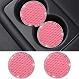 SUNACCL Bling Car Coasters Pink PVC Travel Auto Cup Holder Insert Coaster Anti Slip Crystal Vehicle Interior Accessories Cup Mats for Women and Girl (2.75' Diameter,Pack of 2) (Pink)