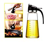 Olive Oil Dispenser Bottle for Kitchen Cooking ,Vinegar Dispensing Cruets,Cooking Oil Condiment Containers with Measurement and Easy Pouring Spout for Kitchen by (18.6 OZ)