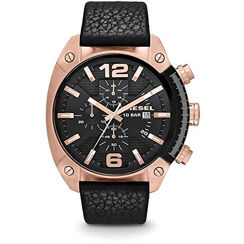 Diesel Men's DZ4297 Overflow Rose Gold Black Leather Watch
