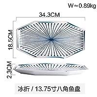 S-TING プレート ホーム日本の八角形のラインセラミックカトラリープレートディッシュライスボウル調味料食器カップ13.75インチ ランチプレート キッチン用品