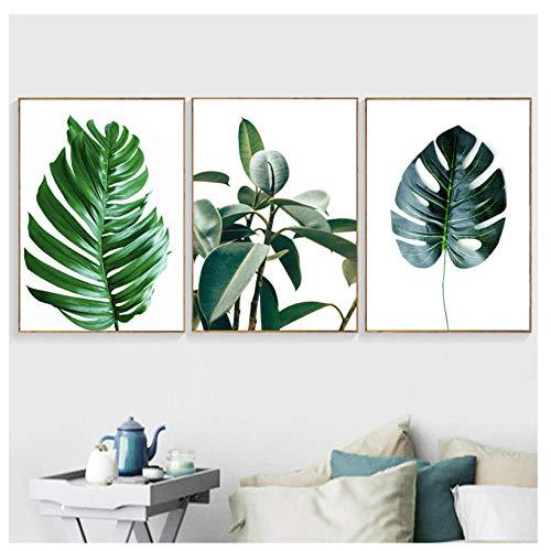 wekeke Grüne Palmblätter Poster Gold Ananas Wandkunst Minimalist Home Decor Leinwand Malerei Drucke Pflanze Frische Modulare Bilder/40X60Cmx3 Pcs kein Rahmen