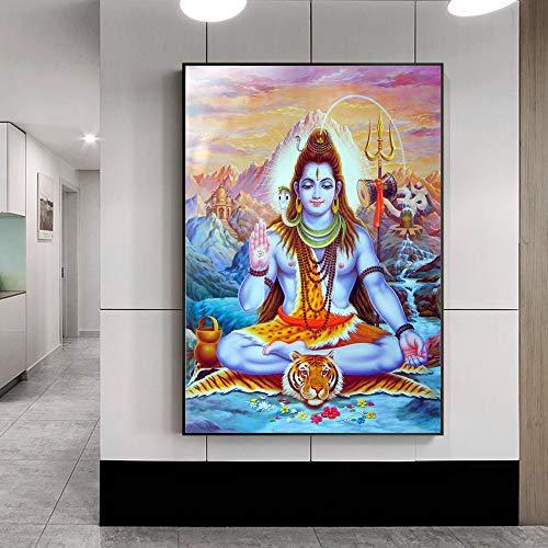SADHAF religieuze godin canvas geschilderd op de muur van de hindoeïstische god muurkunst canvas schilderij afbeelding hoofddecoratie 70X100cm (kein Rahmen) A6.