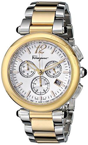 Salvatore Ferragamo Idillio Orologio Cronografo da Uomo, quadrante bianco e bracciale bicolore F77LCQ9502S095