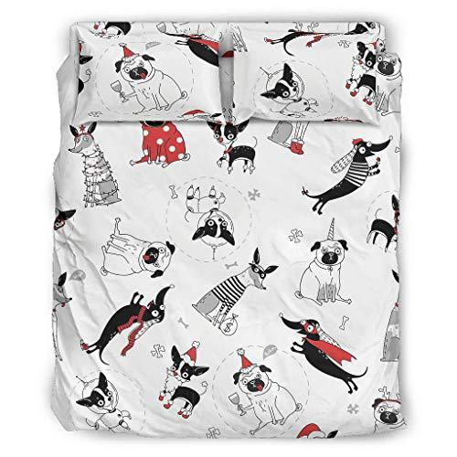 Xuanwuyi superweich 4-teiliges Bett-Set Bettwäsche Polyester für Mädchen White 228x228cm