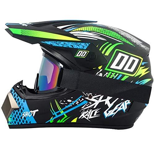 R&P Casco de motocross, para adultos, para exteriores, casco de bicicleta de montaña, de cara completa, para motocross, todoterreno, motocross, motociclismo (Arena Amarilla, S)