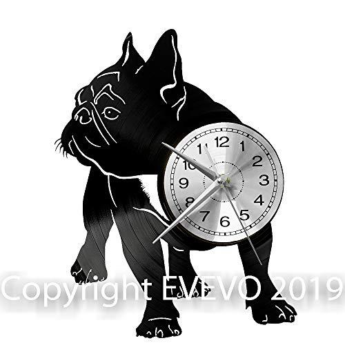 WoD Französische Bulldogge Hund Wanduhr Vinyl Schallplatte Retro-Uhr groß Uhren Style Raum Home Dekorationen Tolles Geschenk Uhr