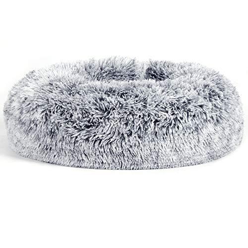 FEANDREA Hundebett, Katzenbett, weiche PV-Samtoberfläche, 50 cm, grau PGW037G01