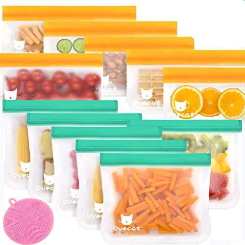 Sacchetti Riutilizzabili per Alimenti, 12 Pezzi Sacchi Portaoggetti Congelatori Borsa, Ecologico per Pane, Sandwich, Tostapane
