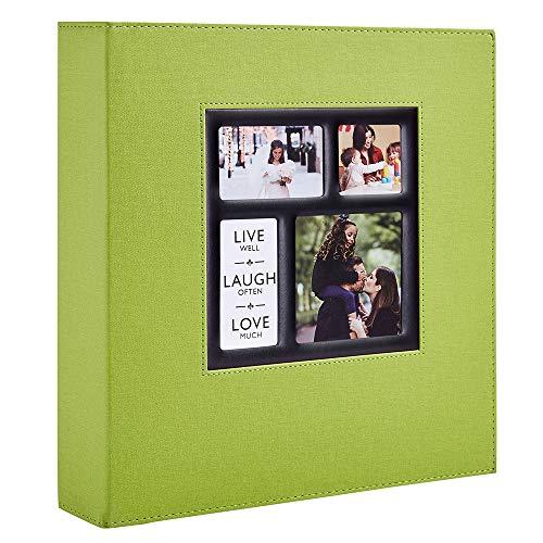 Benjia - Album fotografico con 1000 tasche, 10 x 15 cm, per foto di grande formato famiglia, matrimonio, classico, copertina in lino, 100 fogli, 200 pagine, colore: Verde