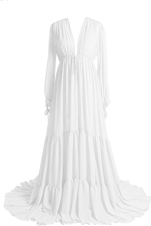Tianzhihe Maternity Dress Long Sleeve Bridal Lingerie Robe Sheer Swimsuit Cover Up Boudoir Dressing Gown