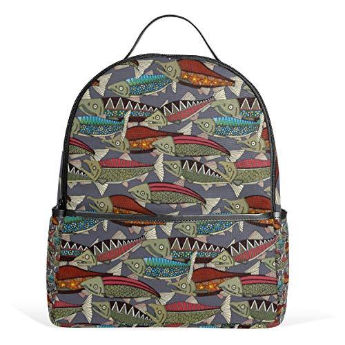 Alaskan Salmon Dusk Mochila pequeña para hombres y mujeres, mochila de hombro, mochila de viaje, para adolescentes