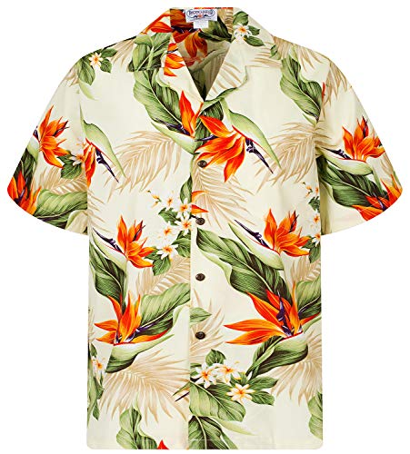 P.L.A. Pacific Legend Original Hawaiihemd, Kurzarm, Strelitzie, Beige, S