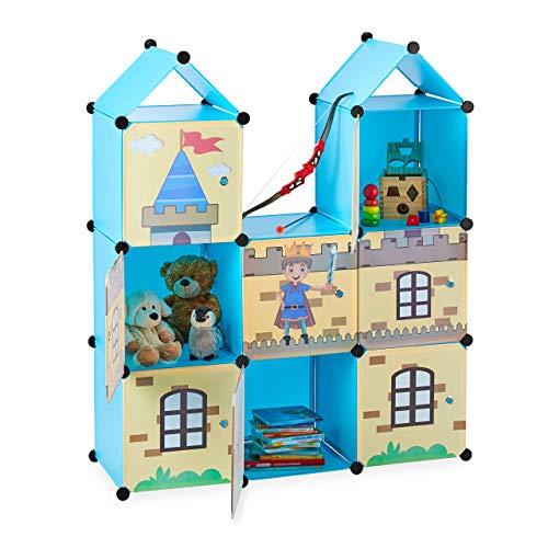 Relaxdays Estantería Infantil, Castillo feudal, Plástico, Armario con Puertas, 128 x 110 x 37 cm, Multicolor, PP